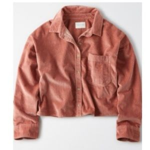 American Eagle Dusty Pink Corduroy Button-Up